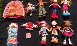 Groovy Girls dolls for sale as collection or smaller groups. Featuring: Ellie May (cowgirl), Cinder Sue (Halloween), Garnet Glitterbella, Dari (small scale), Kayla, Kalvin (boy doll), Vanessa. Also an additional skirt and letterman jacket. Groovy Girl