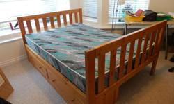 Used Can Wood Double bed with mattress, Two beds available $200 for each. Also available is a two drawer cabinet for under the bed at $75. The mattresses are in very good shape, no stains, holes etc. I also have the pins which allow the beds to stack as