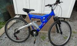 SPECIALIZED heavy duty frame, full suspension, all SHIMANO 21 speed twist grip gear selection, JEEP COMANCHE TSI, old but seldom used.