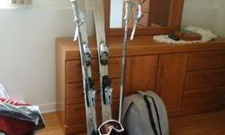 Boots - Nordica size 7 women -colour Silver Ski and pole Goggle Lock for the ski Bag for the ski and also the bag for the boots Feel free to call, e-mail or even text me Only used once - reason for selling never going to used them Asking $500.00 or best