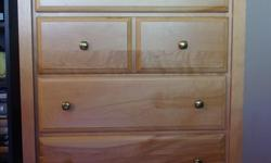 Dresser (122cm x 46cm x 82cm Bedside Table (only one) (56cm x 41cm x 61cm Both hardwood, made in Canada Excellent condition Sold together or separately.