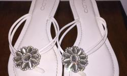 Dressy Aldo sandals, size 37, worn once for several hours as a member of a bridal party. White with beautiful detail, come in original box and wrapping. $25.