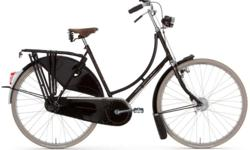 On sale for $1499 from $2199 - save $700! Sizes: 51cm, 57cm in step-through frame, 61cm in diamond frame, black - while quantities last. Contact us for availability Quintessential Dutch-style city bike, fully loaded * Built-in rear rack, fenders,