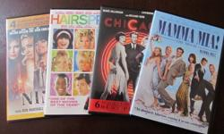 Set of four DVD's:   Mamma Mia Hairspray Chicago Nine   Great Condition!