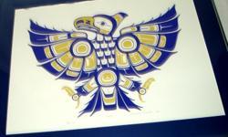 "'Eagle'. 25"" x 19"" 1994 Artist's Proof by Soto artist Stephanie Kewistep. Set in metal frame with single matt."