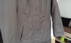 Eddie Bauer waterproof coat in grey with detachable quilted lining for winter,detachable hood,inner zip pocket for phone/ipod. Only worn a couple of times as I bought it too big especially with lining out. As new condition,no rips or stains.I paid almost