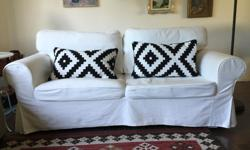IKEA Ektorp sofa-bed. Comes with 2 slipcovers, one is white & one is dark denim (see pictures). Slipcovers are machine washable. The mattress is a double IKEA mattress, super clean and rarely used & always had a mattress cover. The couch is really sturdy