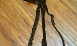 Full Size English Headstall with older soft snaffle bit. Both older but made well and in good condition.