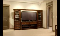 """TV Centre Base Cabinate 58""""W - 20"""" D - 28"""" H 2 - Side Cabinates 22"""" W - 69"""" H - 15"""" D Approx. 4 years old in very good condition Top shelf is adjustable - TV opening space is also adjustable with a minimal opening of 58"""" W 2 side cabinets have built-in"""