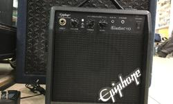 VIP PAWNBROKERS has an Epiphone ELECTAR 10 Amplifier! This is a great little guitar amp. It is a 10 watt Epiphone Electar! It comes with the original wall adapter. Perfect for someone who wants to play in a small area like a bedroom or someone who has