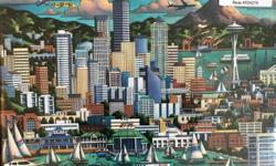 """NEW! Eric Dowdle Folk Artist Hand Printed """"Seattle"""" Gallery Canvas Wrap 2"""" Deep Frame. Still has plastic wrapping and price sticker. Size: 11"""" x 14"""". Art is printed and handmade Replacement cost at artist site is $125. Great Gift for $20"""