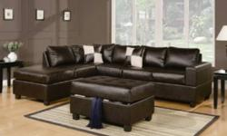 Comfortable leather sectional set includes a sofa, reversible chaise, storage ottoman, and 2 throw pillows, plus a 1 year warranty! Available in WHITE or ESPRESSO leather! Limited stock price drop from $1300, must sell $999(no tax) Please call 604 340