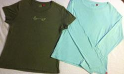 Green short sleeve t-shirt and teal long sleeve t-shirt. Both Esprit for $8. Non-smoking home. Pick up in Kenaston (day) or Charleswood (eve).