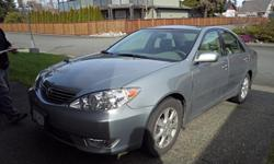 Make Toyota Model Camry Year 2005 Colour Grey Trans Automatic Selling Mom's car, has had regular routine maintenance, never driven outside Campbell River. Leather interior, sunroof. Ready to be shown Saturday March 19th from 9-12 at 121 Cherry Tree Lane.