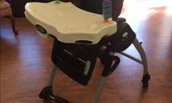 Excellent high chair with lots of options to adjust. Mostly used at grandma and grandpa's home. One small tear on the underside of the cover, but does not affect function