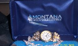 """This extraordinary Silver and Gold Electroplated watch and choker type necklace is coming from the """"Heaven Estate"""" The band of the watch is beautifully crafted butterflies.The Necklace has the same 6 butterflies.   These pieces are from Montana"""