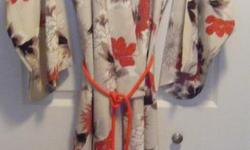 Fancy kimono, with belt, fully lined Worn once, like new Second photo shows back of kimono One size fits all