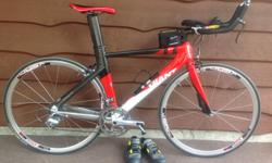 Excellent used condition. Giant Trinity Alliance 50cm (medium size). Perfect blend of composite alloy with compact aero design. Carbon seat post. Shimano Ultegra rear / 105 front derailleurs. Aerodynamic XeroLite wheelset. Comes equipped with Look Keo