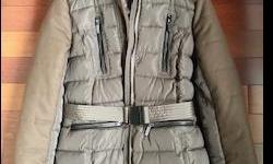 FCUK (French Connection United Kingdom) Ladies Jacket is Brand new never worn ,has down filled baffles and elastic sleeves with waist belt very stylish and practical. has a large hood for extra warmth
