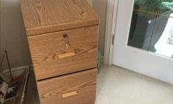 """Oak, two drawer filing cabinet in excellent condition Height - 30"""" Depth - 20"""" Width - 15"""""""