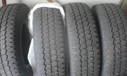 Selling a full set of Firestone Steeltex A/T LT235/75 R15 Tires. The tires are snow/mud rated and have a great tread pattern as seen in the photos. This would be an ideal set for someone looking to reduce costs on a set of tires for this upcoming winter