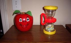 happy apple musical chime, roly poly with 1972 short stem $12 hour glass shake toy with handle $12