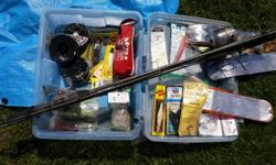 So much stuff in here....2 rods, many hoochies, Scotty clips, halibut riggings, flashers etc. First aid kit, downrigger bracket Keep the storage box too! (sorry the rods are gone)