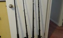 """SHIMANO TDR 8' action rod with 2000GT reel, $60., RAPALA MAGNUM 9' med/heavy action rod with Daiwa M-One reel, $80., DAIWA WILDERNESS 9' med/heavy action rod with Shimano 200GT reel, $80., SHIMANO TDR 9'6"""" med/heavy action rod with 2000GT reel, $140.,"""