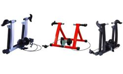 Indoor bike trainer works with a range of bikes and has progressive resistance which increases as you pedal faster. Bike trainer comes fully assembled. Slightly used. Works perfectly.