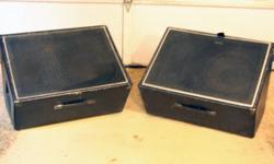 """FLOOR MONITORS- Matching Pair 18""""d x 17""""t x 26""""w Solid construction and a wide range full sound with 8"""" Horn Tweeters and 12"""" Subs. Dual angle positioning. Has protective feet and carrying handles for transporting. Excellent condition Asking $160.00 for"""