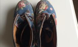 Very lightly worn. Size 9. Floral, jean Dr Martens. $65 OBO