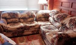 Flower patterned sofa set, in great condition, super comfortable, one two seats (46 x38) one three seats(90 x 38). sell as a set. must pickup. from clean, pet free non smoking family. cross posted.