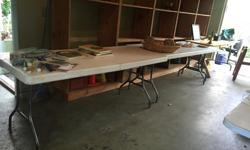 Multi - purpose indoor/outdoor folding tables $20 each 6 ft long Stackable for easy storage