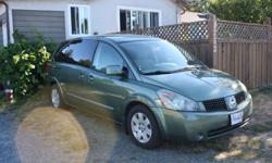 Make Nissan Model Quest Colour Green Trans Automatic kms 295460 One female owner. I no longer have all 5 kids at home so looking for a smaller vehicle. Front row heated seats, 4 back AC/heat vents for back seat passangers, All two rows of seats in back
