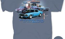 """Blue t-shirt, 100% preshrunk cotton. """"Gathering of the Herd"""" with graphic showing classic thru late-model Mustangs at the """"Gear Head Grill."""" Size M in stock; other sizes available by order."""