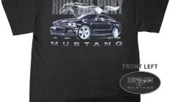 Black Mustang t-shirt. 100% preshrunk cotton. Sizes M, L, XL, 2XL in stock, other sizes available to order.