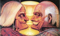 A print of an older couple looking at each other, also showing a scene from their life. Notice how the middle part of the print shows a golden cup, a little like Rubin's vase. Like New still SEALED Ready for framing