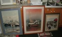 "I HAVE 3 NAUTICAL FRAMED PICTURES FROM A RED LOBSTER RESTAURANT RENOVATION IN TORONTO,THESE ARE PROBABLY 20+ YEARS OLD AND IN GREAT SHAPE $40.00 EACH OR 100 FOR ALL 3 APPX 27X36""AND 24X24"""