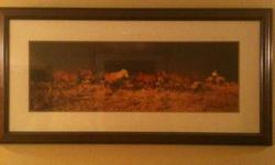 Beautiful picture, framed. Perfect gift for the guy or girl who loves horese. Please email.