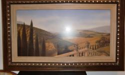 Beautiful print of a farm scene.  Professionally framed.  Measures 50 in by 31 on.