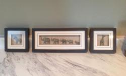Set of three shadow box set. Colour black and white.