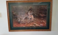 Wood Framed Wolf Print Artist B L Marris 42 x 27 $65