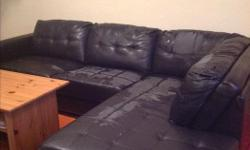 Large black sectional couch. The upholstery is peeling quite a bit, but you can cover it with blankets and it's super comfortable. And it's free!!! Located in Fairfield, pick up only please.