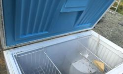 Upright freezer in working condition. Needs a good cleaning.