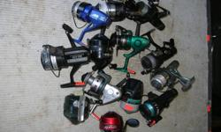 """FRESH WATER FISHING REELS. Mostly from $4.00 to $15.00 each. All in very good condition. Its a house number so texting will not work. """"""""DO NOT"""""""" CALL BEFORE 8 am. OR AFTER 9:00 pm. CASH ONLY. PICKUP ONLY VIEW MAP for general location. View poster's list"""