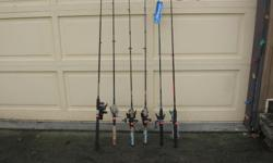 (((Open this ad to view all that is listed.)) FRESH WATER ROD & REEL COMBOS. ((SOLD)) - SHIMANO SR-66MB2 6 ft.-6 in. SPINNING ROD MEDIUM ACTION. and a SHIMANO R4000 SPINNING REEL. They are the 2 in the middle. $25.00 - DAIWA SHOCK F662M 6 ft. 6 in.