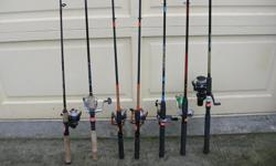(((Open this ad to view all that is listed.)) FRESH WATER ROD & REEL COMBOS. $35.00 - NEW SHAKESPEARE MANTIS 6 ft. WM SP 20-2M MEDIUM ACTION. SPINNING ROD. and a SHAKESPEARE MANTIS MON 30RTA SPINNING REEL. $25.00 - SHAKESPEARE CRUSADER, CRUZ SP 60 2M 6