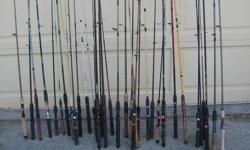 "FRESHWATER FISHING RODS. MOSTLY from $4.00 to $15.00 each All in good to like new condition. Its a house number so texting will not work. """"DO NOT"""" CALL BEFORE 8 am. OR AFTER 9:00 pm. CASH ONLY. PICKUP ONLY VIEW MAP for general location. View poster's"