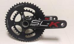 Barely used (less than 100 miles), FSA SL-K BB30 hollow carbon compact crankset, length is 172.5mm, Praxis cold-forged 50/34T rings which alone retails for $180/set (way better than stock FSA rings), 10/11 speed compatible. Actual weight is 568 grams with