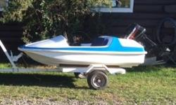 Fun little 6ft boat with 15hp merc motor and trailer. Has been totally restored. New steering, paint, seats recovered. Excellent shape. A fun little boat to cruise the waters.